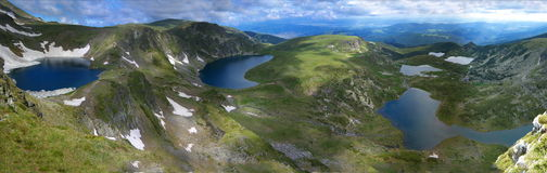 The 7 Rila lakes. 6 of the seven Rila lakes in Bulgaria captured during spring. A very beautiful landscape, great view and a dramatic sky Royalty Free Stock Photography