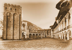 Rila Monastery. Bulgaria in sepia Royalty Free Stock Photography