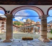 Rila monastery arched columns Stock Photo