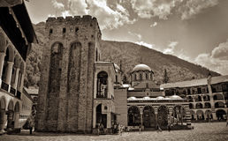 Rila Monastery in Bulgaria. Sepia image taken on a bright sunny day Royalty Free Stock Photos