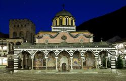 Rila monastery with a falling star Royalty Free Stock Photo