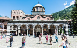 Rila Monastery, main church building during the celebration of 15th of August Royalty Free Stock Photo