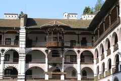 Rila monastery wood balcony Royalty Free Stock Photo