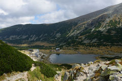 Rila mountain lake. Rila mountain landscape with blue sky and clouds Stock Images