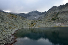 Rila mountain lake. Rila mountain landscape with blue sky and clouds Stock Photography