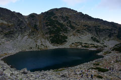 Rila mountain lake. Rila mountain landscape with blue sky and clouds Royalty Free Stock Image