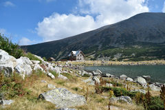 Rila mountain lake. Rila mountain landscape with blue sky and clouds Stock Photos