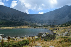 Rila mountain lake. Rila mountain landscape with blue sky and clouds Stock Photo
