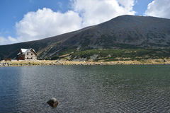 Rila mountain lake. Rila mountain landscape with blue sky and clouds Stock Image