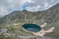 Rila Mountain, Ledenoto (Ice) lake and Musala Peak Royalty Free Stock Photo