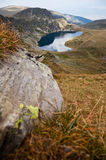Rila mountains, lake. A view from Rila mountains in Bulgaria with one of the seven lakes, called the kidney Royalty Free Stock Photo