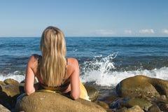 Rilassamento alla spiaggia Fotografia Stock Libera da Diritti