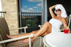 Rilassamento del balcone Fotografia Stock