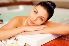 Rilassamento della vasca calda Fotografia Stock