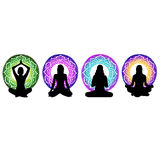 Rilassamento di vettore di esercizio del corpo dell'illustrazione di posa di meditazione di forma fisica di yoga royalty illustrazione gratis