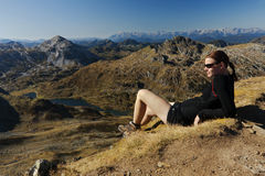 Rilassandosi nelle montagne Fotografia Stock