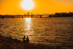 Rilassi a Han River a Seoul, il Sud Corea fotografie stock