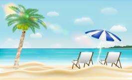 Rilassi la sedia di spiaggia su una spiaggia della sabbia di mare illustrazione di stock