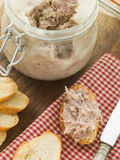 Rilette of Duck and Pork with Toasted Baguette Stock Images