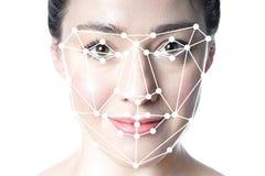 Rilevazione del fronte o sovrapposizione facciale di griglia di riconoscimento sul fronte della donna fotografie stock libere da diritti