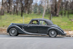 1950 Riley RMB Sedan. Adelaide, Australia - September 25, 2016: Vintage 1950 Riley RMB Sedan driving on country roads near the town of Birdwood, South Australia stock photography