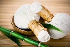 Rilievi di erbe tailandesi di massaggio Immagini Stock