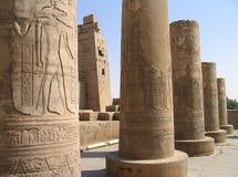 Rilievi pittorici sulle colonne del tempiale di Kom Ombo, Egitto Fotografia Stock Libera da Diritti
