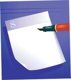 Rilievo della penna e di lettera di fontana Fotografia Stock