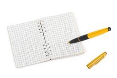 Rilievo di nota e della penna Fotografie Stock
