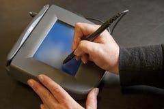 Rilievo elettronico dell'impronta Fotografie Stock Libere da Diritti