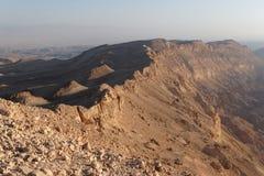 Rim of desert canyon at sunset. (Small Crater, or Makhtesh Katan, Negev desert, Israel&#x29 Stock Images