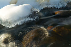 Rim ice on a flowing stream Stock Photos