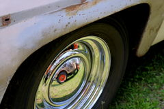 Rim and Wheel of Vintage Truck. With reflection Royalty Free Stock Image