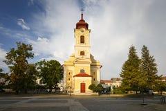 Rimavska Sobota, Slovakia. Rimavska Sobota, Slovakia - August 14, 2018: Church in the middle of the main square of Rimavska Sobota, Slovakia royalty free stock photo