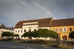 Rimavska Sobota, Slovakia. Rimavska Sobota, Slovakia - August 14, 2018: Historical town houses in the main square of Rimavska Sobota, Slovakia royalty free stock photos