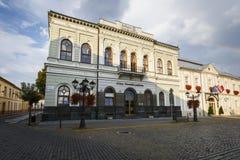 Rimavska Sobota, Slovakia. Rimavska Sobota, Slovakia - August 14, 2018: Historical town houses in the main square of Rimavska Sobota, Slovakia stock image