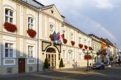 Rimavska Sobota, Slovakia. Rimavska Sobota, Slovakia - August 14, 2018: Historical town houses in the main square of Rimavska Sobota, Slovakia stock photo