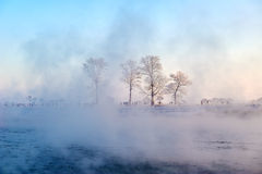 The rime in fog. The photo was taken in Wusong island Ulla manchu town Longtan district Jilin city Liaoning provence,China Stock Photo