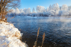 The rime of forest and river water Royalty Free Stock Images