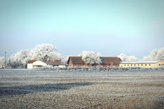 Rime frost landscape at farm field in morning hours. Havelland Stock Photo