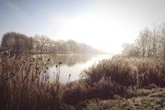 Rime frost landscape at Havel river Brandenburg - Germany Stock Photos
