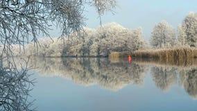 Rime frost landscape at Havel river Havelland, Brandenburg - Germany. Morning hours stock video