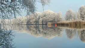 Rime frost landscape at Havel river Havelland, Brandenburg - Germany. Morning hours. Hoarfrost landscape at Havel river Havelland, Brandenburg - Germany. Morning stock video
