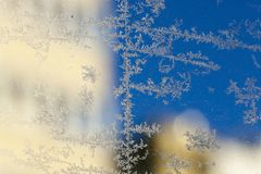 rime on the glass royalty free stock photo