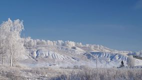 Rime landscape with birch trees and hills, slow panorama. Slow panoramic winter landscape with birch trees and hills stock video footage