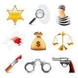 Сrime and law icons vector set Stock Image