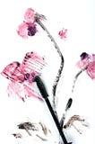 Rimel-aplique la orquídea con brocha pintada Fotos de archivo