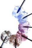 Rimel-aplique los círculos de la pintura con brocha. Imagen de archivo