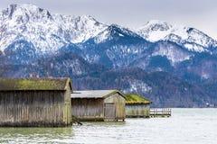 Rimesse per imbarcazioni nel lago Kochelsee Fotografie Stock Libere da Diritti