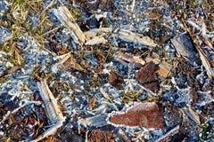 Is rimfrost, splittrar, gräs på fryst jordning Arkivfoto